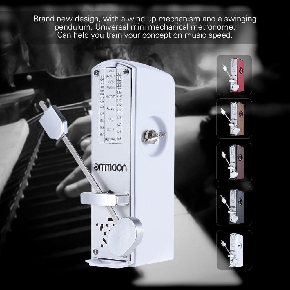 ammoon Portatile Mini metronomo meccanico Universale 11/cm altezza per pianoforte elicriso violino in c/ítara Cina strumento musicale Mogano Chiaro