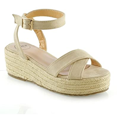 a369f3e51fc2 ESSEX GLAM Womens Cross Strap Platform Wedge Heel Sandals Ladies  Espadrilles Shoes Size 3-8
