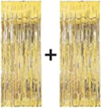 2 x Big/Large 3ft x 8ft Gold Fringe Foil Curtain party tassel (You will receive 2 curtains)
