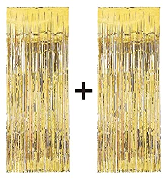 Great 2 X Big/Large 3ft X 8ft Gold Fringe Foil Curtain Party Tassel (You