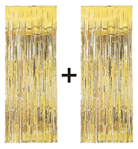 2 X Big/Large 3ft X 8ft Gold Fringe Foil Curtain Party Tassel (You