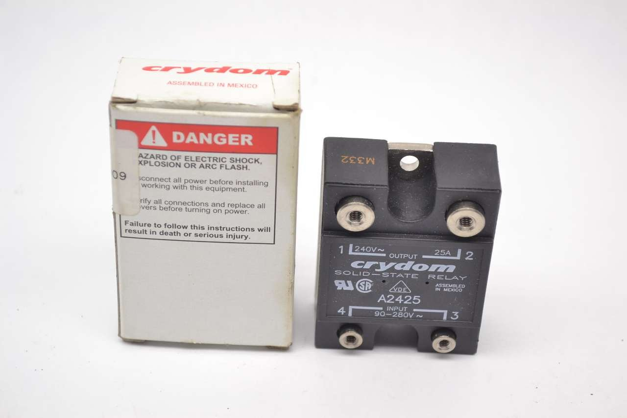 Crydom A2425 Relay Ssr Zero Switching Spst No Cur Rtg 25a Ctrl Spdt Solid State 5v V 90 280ac Vol 24 Electronic Components Industrial Scientific