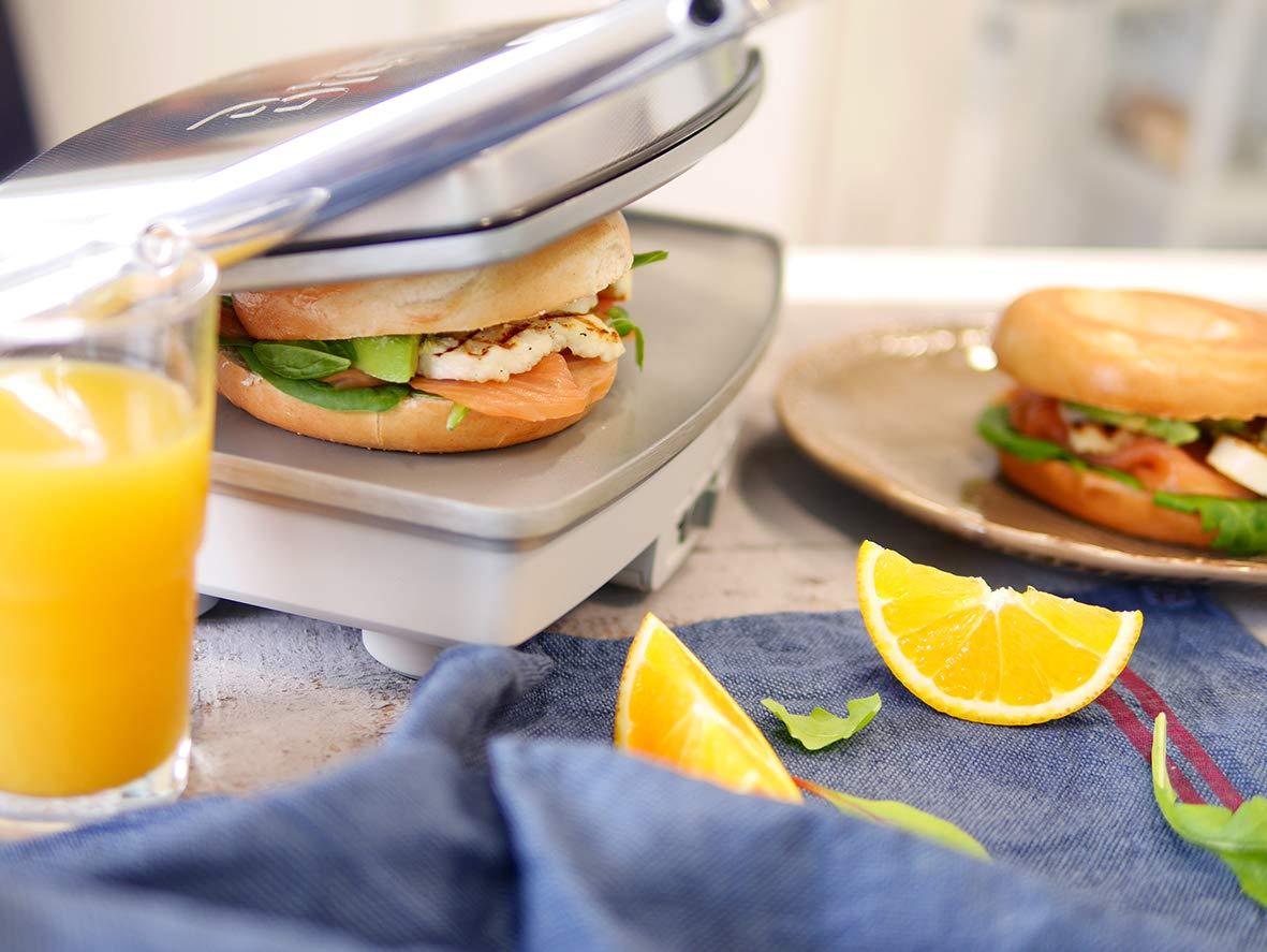 Breville DuraCeramic VST071X Sandwichera de tamaño Mediano con Revestimiento, 1000 W, 0 Decibeles, cerámica, Inox