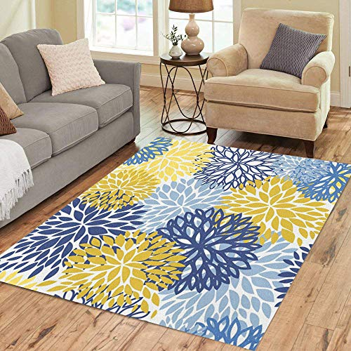 Pinbeam Area Rug Green Spring Flower Blue Yellow and Navy Chrysanthemum Home Decor Floor Rug 5' x 7' Carpet (Area Themed Nature Rugs)