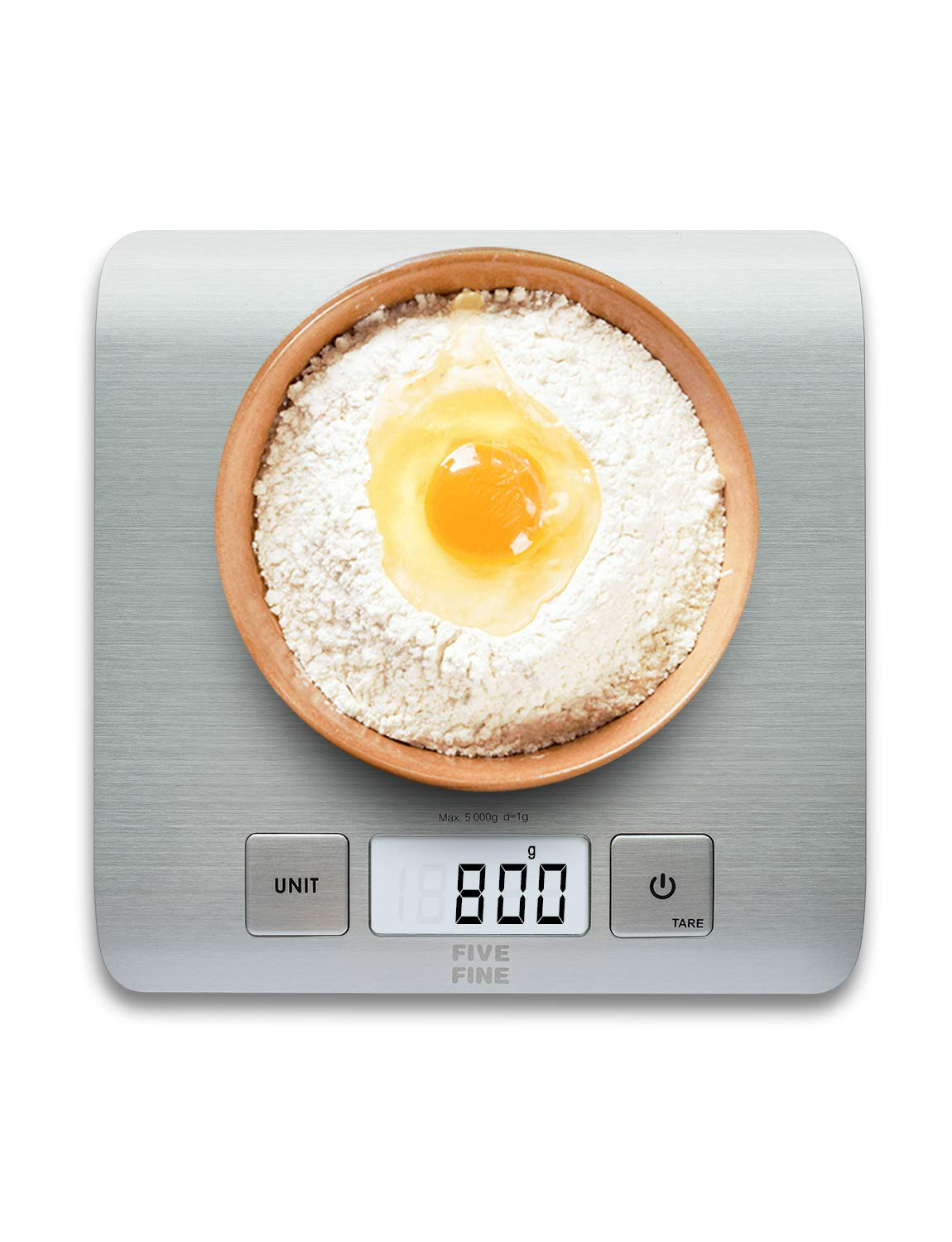 Kitchen Scale Digital Food Scale Grams and Ounces Digital Scale Multifunctional Stainless Steel Bakers Scale for 11Lb/5Kg, 1g Division, LCD Display, Batteries Included, Silver