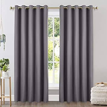 Three Pass Microfiber Thermal Insulated Ring Top Blackout Window Curtains NICETOWN Thick Bedroom Blackout Draperies W42 x L72, Gray, 2 Panels