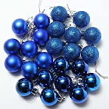 Ornament Ball - SODIAL(R)24Pcs Chic Christmas Baubles Tree Plain Glitter XMAS Ornament Ball Decoration Blue