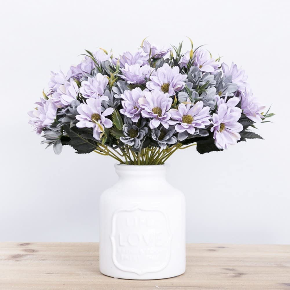 Pack of 1 Smartcoco 10 Heads Artificial Daisy Silk Flowers Fake Flowers for Vintage Home Wedding Decor Blue