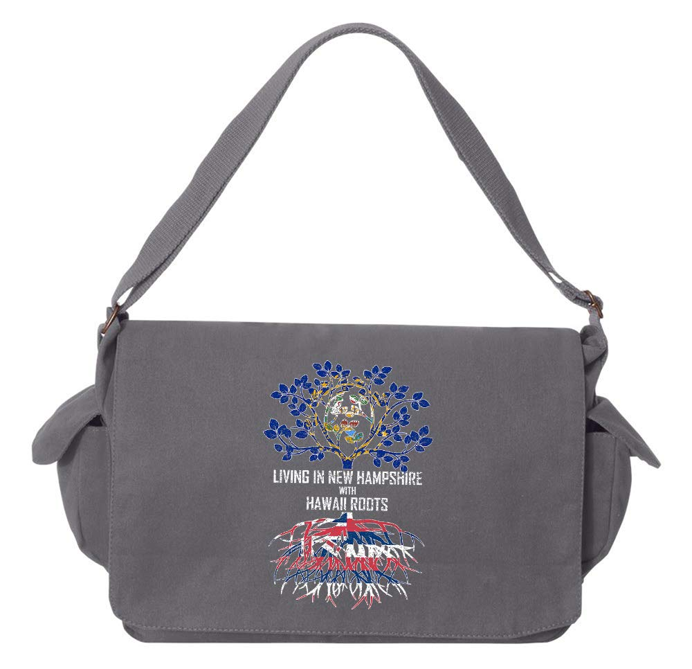 Tenacitee Living In New Hampshire with Hawaii Roots Grey Brushed Canvas Messenger Bag