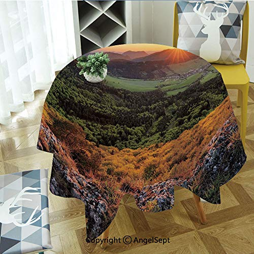 Round Tablecloth Balkans Slovakian Mountain Valley at Sunset Sky Surreal Landscape for Thanksgiving, Catering Events, Dinner Parties, Special Occasions or Everyday Use, 55