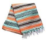 Del Mex (TM) Mint Sea Foam, Burnt Orange, Tan Mexican Blanket Vintage Style (Catalina)