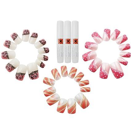 COM de Four® 36 x – uñas postizas en diferentes diseños de uñas, adhesivo