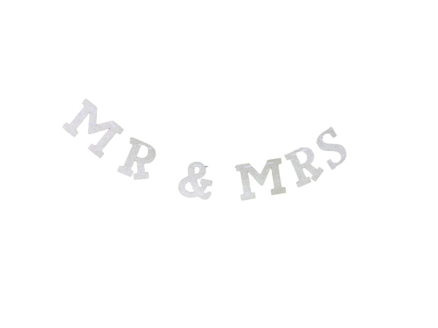 Bridal Showers Hen Parties Mr and Mrs Silver Glitter Banner for Weddings