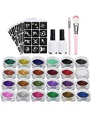 XUBX Glittertattooset, Glitter tattoo set, Tijdelijke tatoeages Kit met 24 glittertubes en 120 sjablonen, 2 borstels, 2 lijmen, waterdicht, Tijdelijke Glitter Tattoos Set Make-up Body Art Paints Set