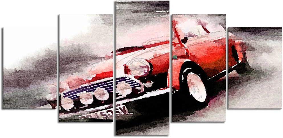 ZORMIEY Cuadro en Lienzo,5 Partes Pintura al óleo Mini Coche clásico Coche Antiguo Coches automotrices Carreras Coches Viejos de Arte de Pared Decoración del Hogar para el Cartel Modular