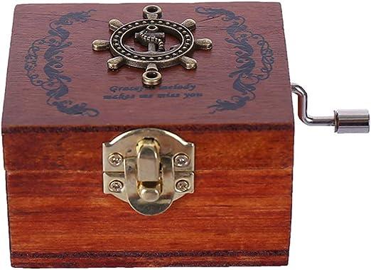 Artibetter Caja de música Vintage manivela clásico Madera Cajas de música cumpleaños: Amazon.es: Hogar