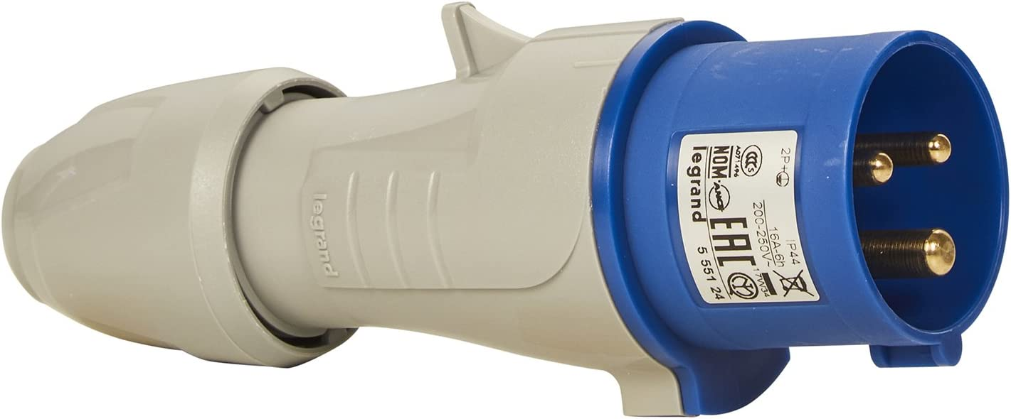 IK09 090103 Schutzart IP44 6h 230V//16A CEE 16A Stecker Legrand 2P+PE blau 3-polig