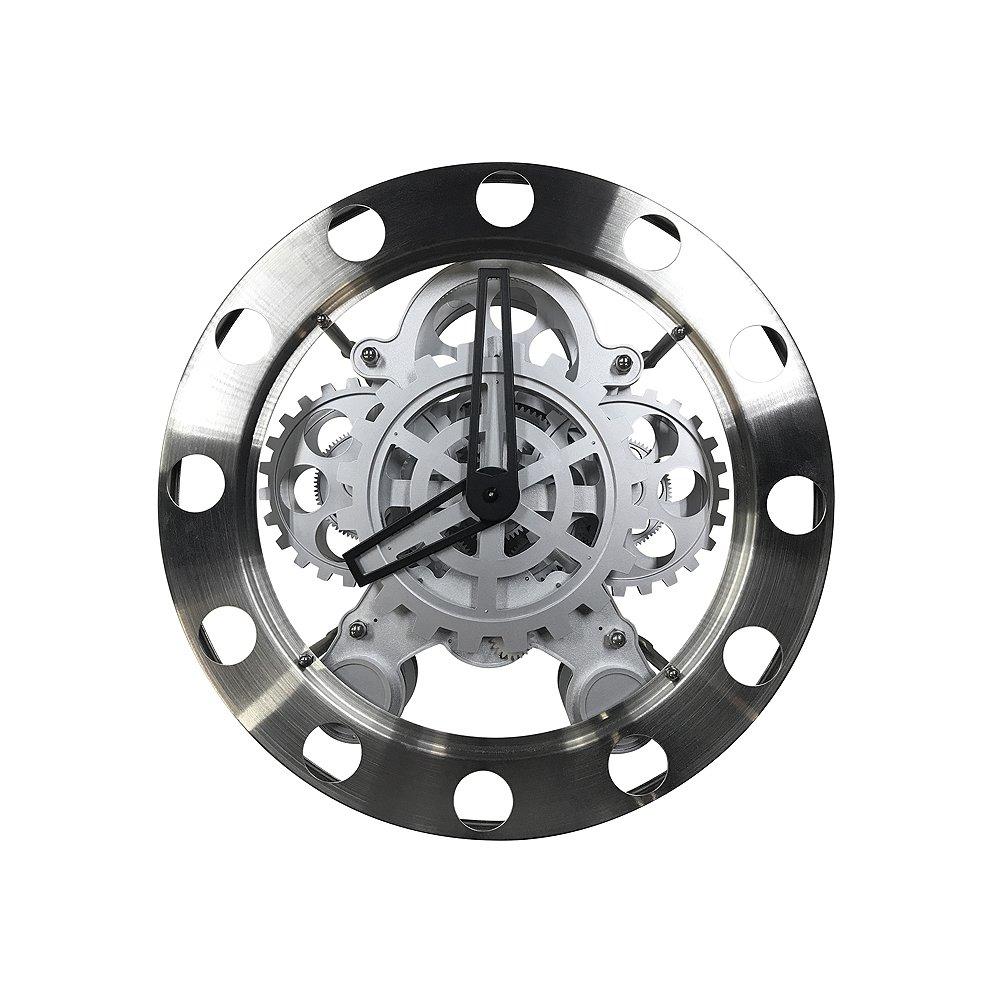 重厚なメタルボディと歯車がモチーフの壁掛時計!壁掛けメタリックギアクロック【EM-G004-S】 B07C2QFWT8