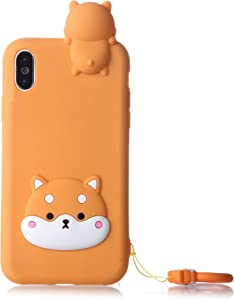 iPhone 7 Case, iPhone SE 2020 Yellow Case, Fashion Cute 3D Yellow Husky Dog Puppy Kids Boys Girls Teen Silicone Cases with Strap Soft Protective Case Cover Skin for Apple iPhone 7/8 iPhone SE(2020)