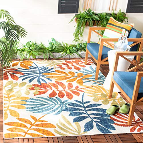 Safavieh CBN814A-4 Cabana Collection CBN814A Creme and Red Premium Polyester (4' x 6') Area Rug, Cream
