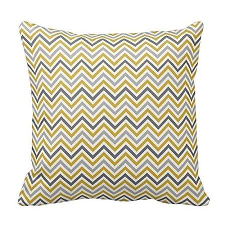 alihogbenstore Mostaza Amarillo Gris Chevron #: 506 Funda de almohada cojín casa sofá decorativo 18 x 18 cuadrados
