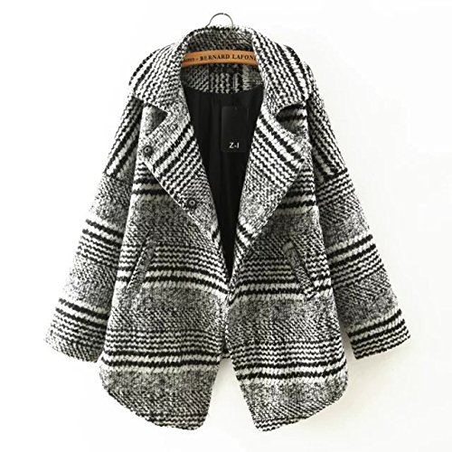 Lapel Long Irregular sleeve Horizontal Coat Woollen Grey Pocket Stripes DYF fxwtB7Eqac