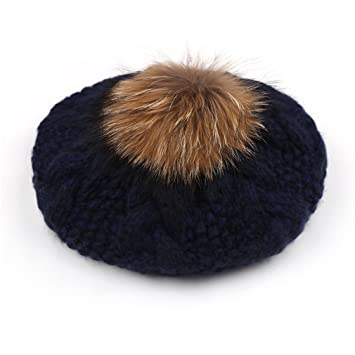9710ebf8c80 New Knitted Beret Hat With Raccoon Fur Pom Pom Winter Hat For Women Girl  Solid Fashion