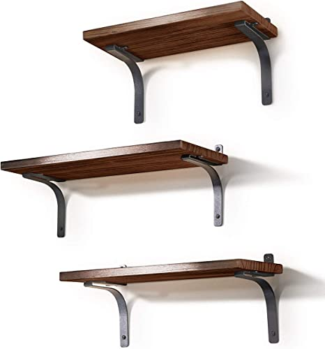 Bathroom Kitchen Floating Shelves Wall Mounted Set of 3 Rustic Wood Storage for Bedroom Office Living Room