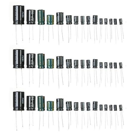 KKmoon 120個入り 15種 電解コンデンサ 1uF-2200uF 50V 電子工作基本部品セット