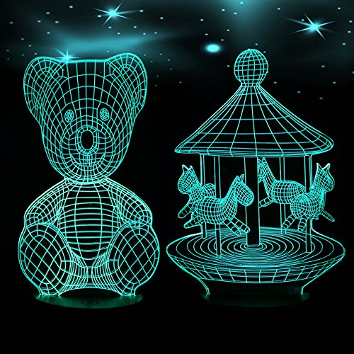 3D Night Light Table Desk Lamp, 7 Colors Optical Illusion Touch Control Lights with 2 Acrylic Flat & 1 ABS Base & USB Cable for Kids Gift(Teddy Bear&Merry-go-round)
