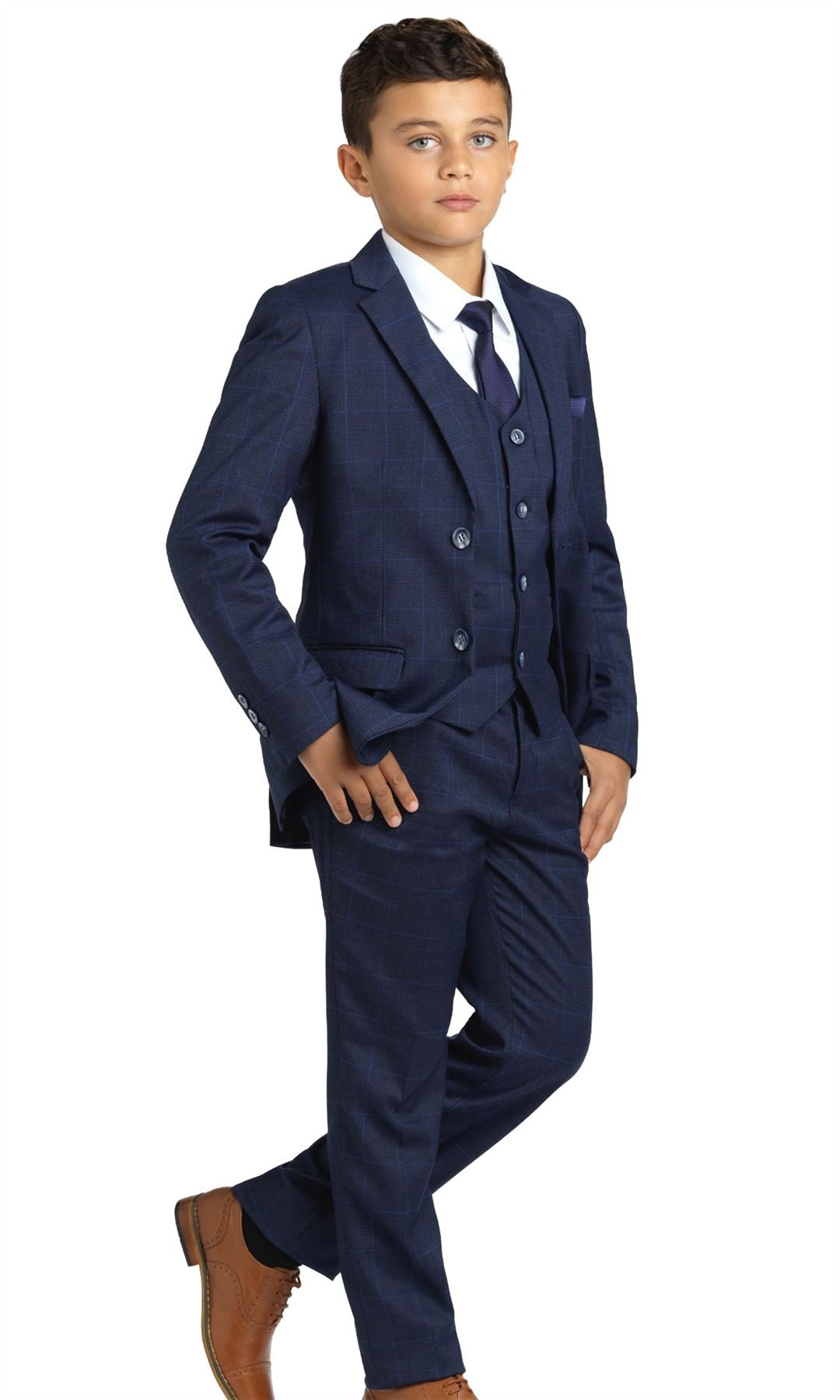 Paisley of London, Henry Navy Check Occasion Wear, Boys Navy Wedding Slim Fit Suit with Shirt and Vest, X-Large