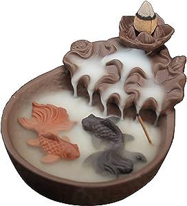 NewEGG Two Fishes Ceramic Purple Clay Smoke Backflow Incense Cone Sticks Burner Holder
