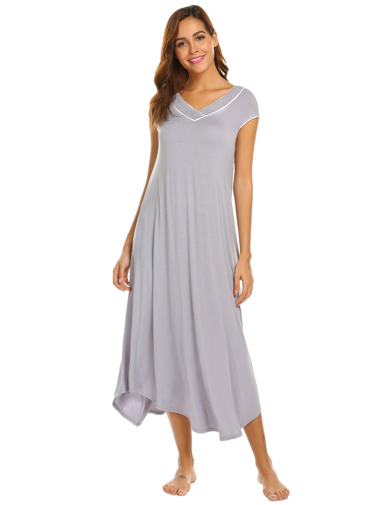 Ekouaer Womens Long Nightgown Short Sleeve Nightshirt Full Length Lounge Dress Grey XX-Large by Ekouaer