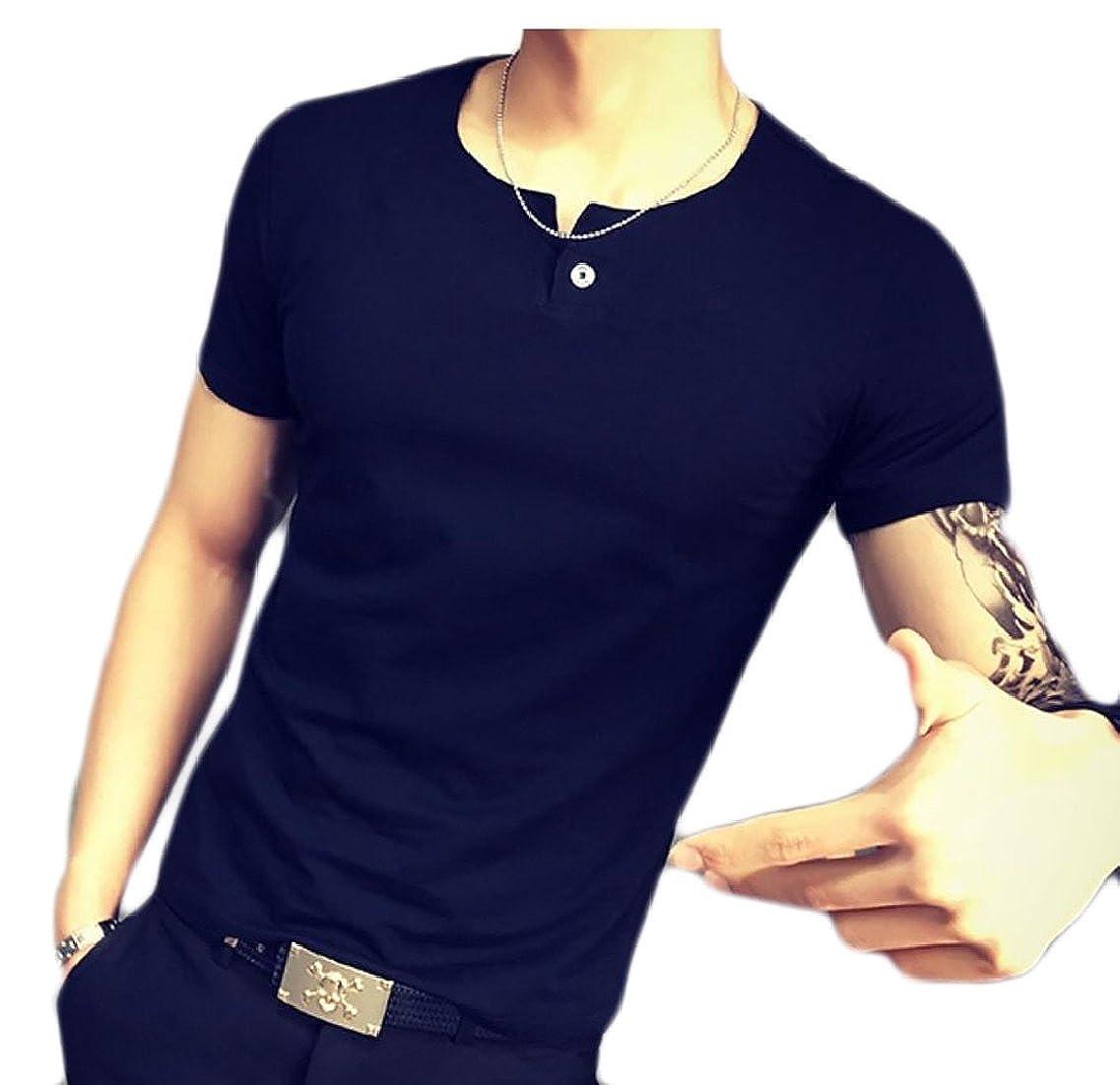 Hilization Mens Short Sleeve Pure Color Blouse V Neck Casual Fashion T Shirt