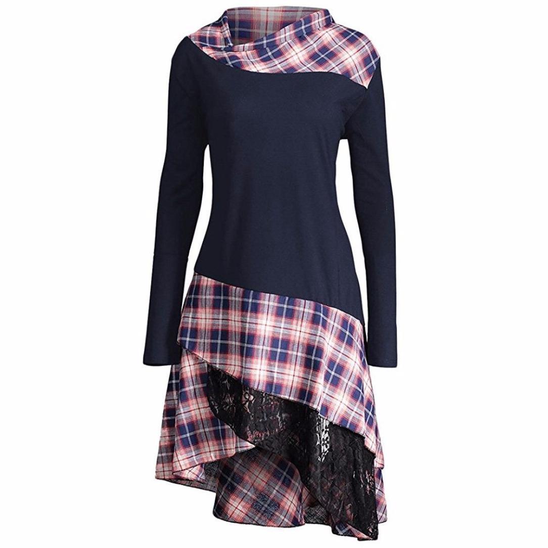 Ninasill Irregular Casual Lace Plaid Panel Long Top Blouse T-Shirt Dresses Plus
