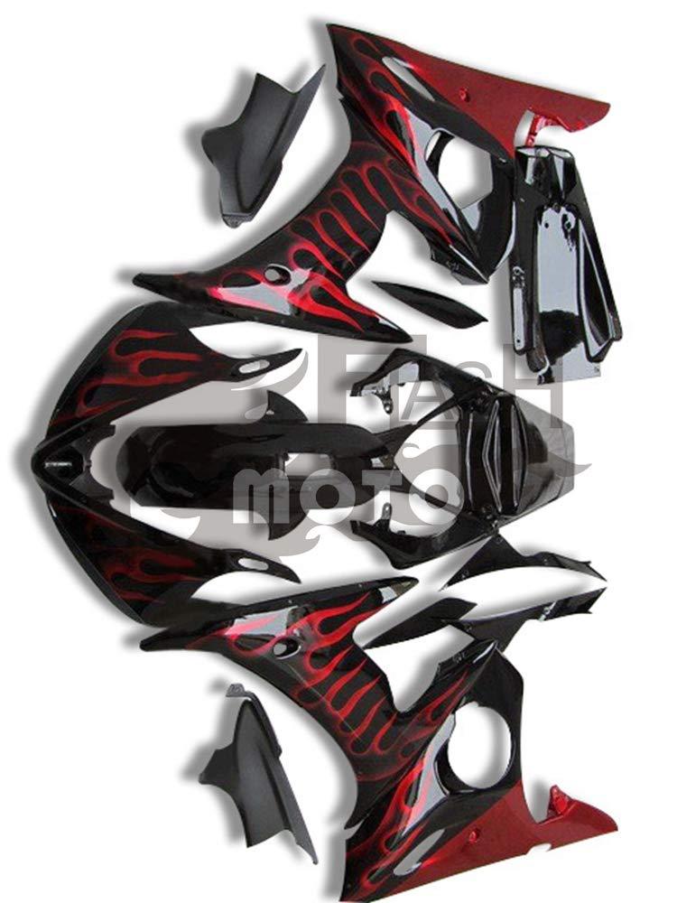 FlashMoto yamaha ヤマハ YZF-600 R6 2003 2004用フェアリング 塗装済 オートバイ用射出成型ABS樹脂ボディワークのフェアリングキットセット (ブラック,レッド)   B07LF338XF
