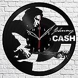"""Handmade"" Johnny Cash Vinyl Record Wall Clock Fan Art Decor Original Gift Unique Decorative Vinyl Clock Black 12″ (30 cm) For Sale"