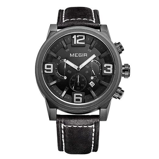 Hermosos Relojes megir/Men s Watch Reloj Deportivo Reloj 3010g Tres Ojos Luminosos: Amazon.es: Relojes
