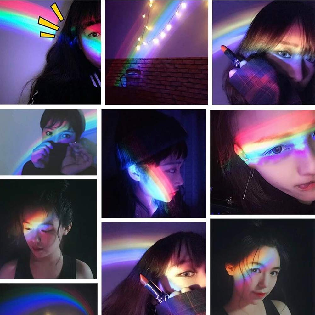 Pink Novelty LED Colorful Rainbow Night Light Romantic Sky Rainbow Projector Lamp Sleep Home Bedroom Decoration Light Gift for Baby Kids Children Christmas NOPTEG Rechargeable Rainbow Projector