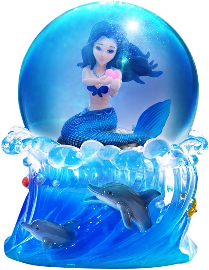 Mermaid Snow Globe with Colorful Lights, Shells, Coral,Musical Box Plays Tune by The Beautiful Sea for Home Décor Christmas Birthday Gift (Canon)
