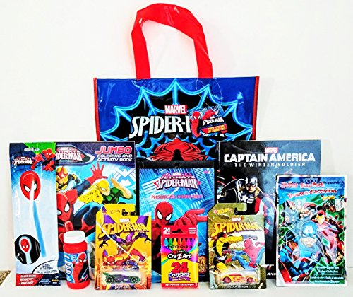 [The Amazing Spider-Man & Captain America Avengers Coloring & Activity Gift Set with Party Tote Bag, Spider-Man Hot Wheels & Much More!] (Captain America Movie Treat Bag)