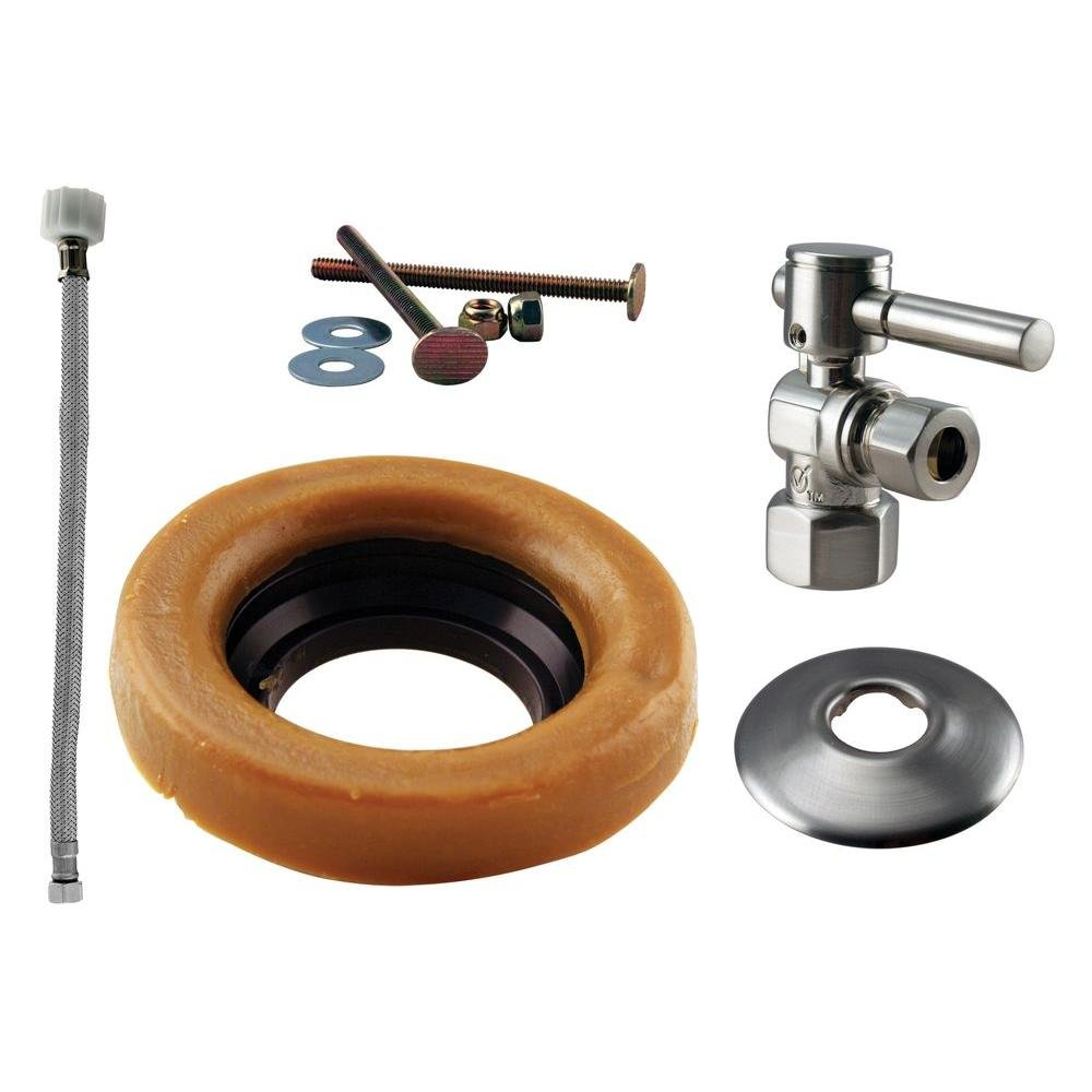 Westbrass 1/2'' IPS Lever Handle Angle Stop Toilet Installation Kit with Steel Supply Line, Satin Nickel, D1613TBL-07