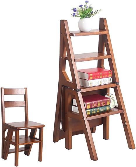 ZENGAI Escalera Madera Escalera Silla Escaleras Silla Escalera En Madera Utilidad De Madera Paso Escalera Plegable 4 Pasos Biblioteca# (Color : C): Amazon.es: Hogar