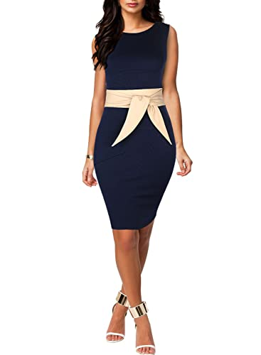Miusol Women's Scoop Neck Optical Illusion Belt Business Dress