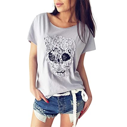 fc62f4b44ce Amazon.com: Witspace Plus Size Women Tops Vogue Short Sleeve Lace Skull T- Shirt Loose Tees Tops: Car Electronics