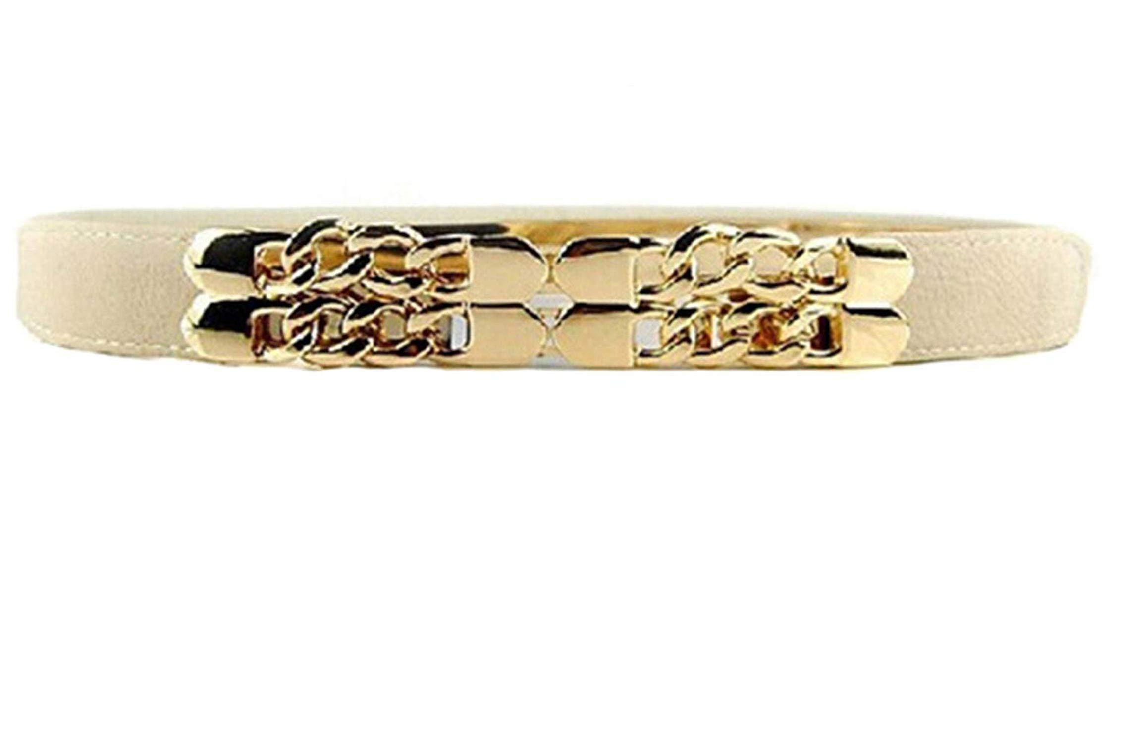 OnIn Golden Chain for Dress Thin Elastic Waistband Wedding Dress Belt,OneSize,Khaki by OnIn Apparel-belts