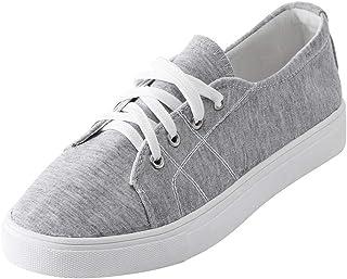 Dtuta Baskets Plates Pour Femmes, Chaussures de toile de couleur unie femmes de la mode chaussures confortables à lacets chaussures Chaussures de toile de couleur unie femmes de la mode chaussures confortables à lacets chaussures