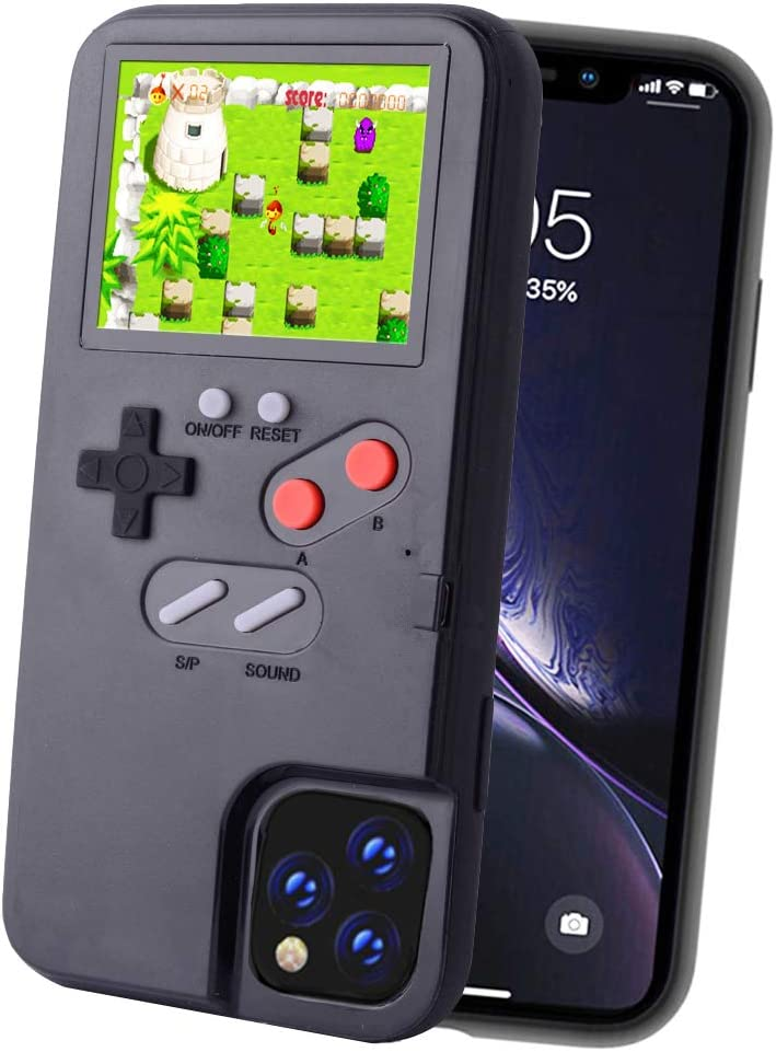 POKPOW Handheld Game Console Phone Case for iPhone XR Case with Built in 36 Retro Games Compatible with iPhone XR Anti-Scratch Shock Absorption Cover (Black)