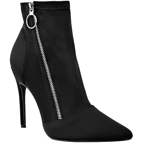 Fashion Thirsty Heelberry para Dama Color Negro Tacón Alto Zapatos de Tacón Botines Elegante Sexy Cremallera Zapatos Talla: Amazon.es: Zapatos y ...