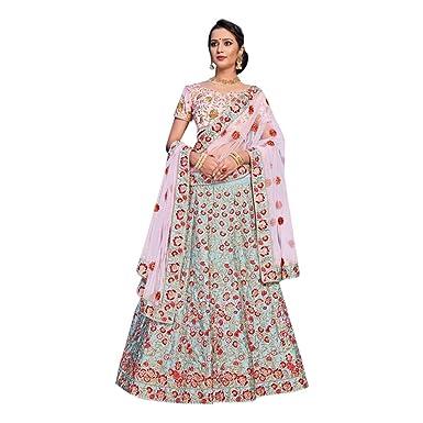 f55b179d4 Amazon.com: Sky Blue Indian Ethnic Traditional Nylon Satin Semi-stitched  Lehenga choli Indian Designer Party wear B1900: Clothing